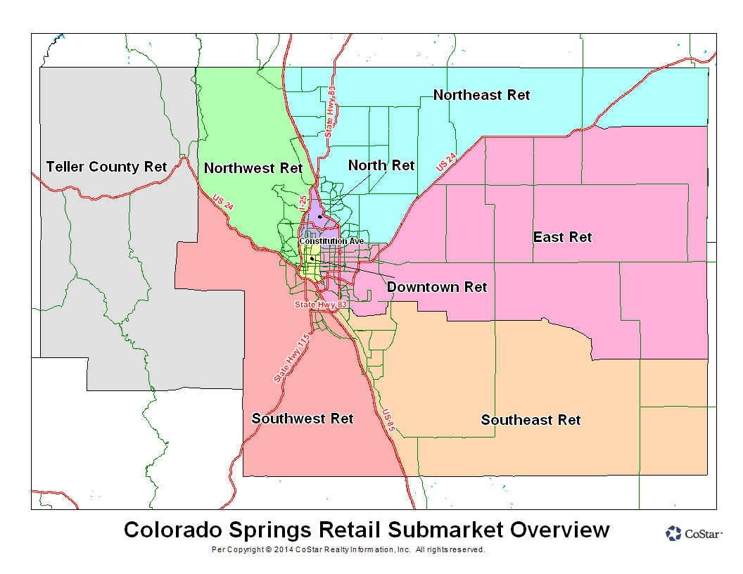 Retail Submarket Map-Costar-Colorado Springs